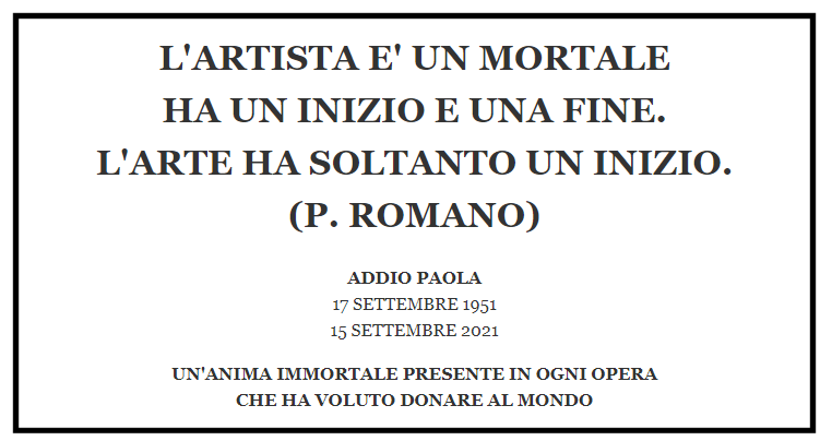 Addio a Paola Romano (1951-2021)